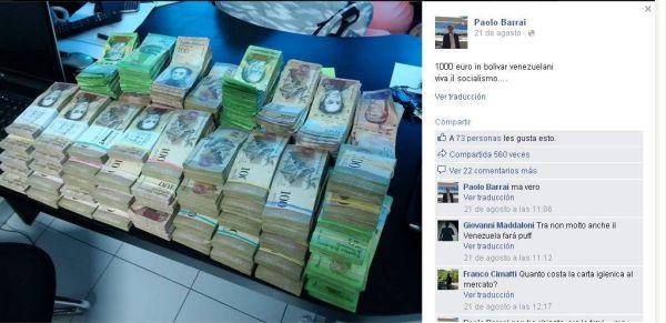 """Usuario de Facebook mostró cuántos billetes venezolanos equivalen a mil euros, """"Viva el socialismo"""" como pie de foto."""