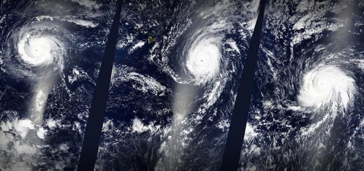 La NASA ha captado una imagen de un extraño fenómeno meteorológico: por primera vez desde que existen registros tres huracanes de categoría 4, bautizados como Kilo, Ignacio y Jimena, se han formado de manera simultánea en el océano Pacífico. NASA / RT