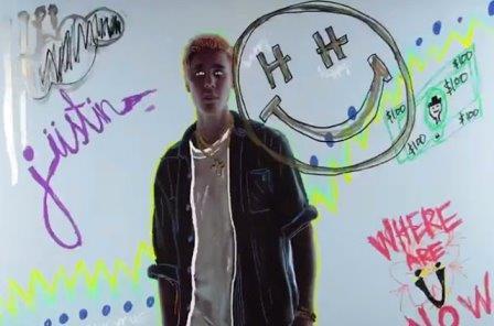 Justin Bieber en el vídeo Where are u now?