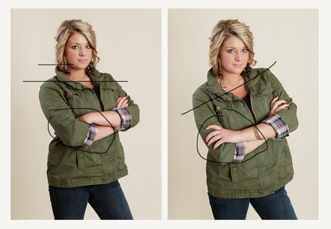 Un hombro caído alarga visualmente el cuello, hace que tu rostro luzca más estilizado. También procura no ocultar las manos. Como ves en la segunda imagen, una mano ubicada encima del codo luce mucho mejor.