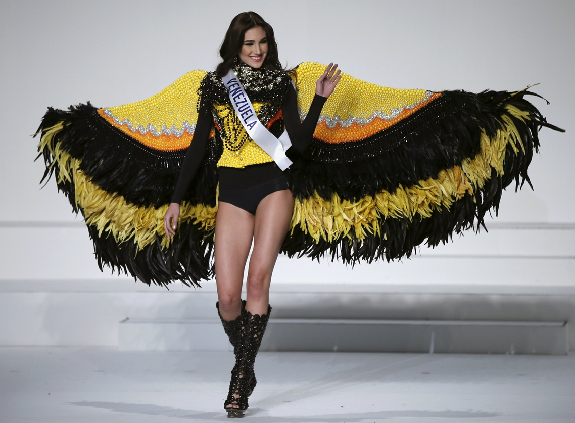 Martinez representing Venezuela poses in a national dress during the 55th Miss International Beauty Pageant in Tokyo