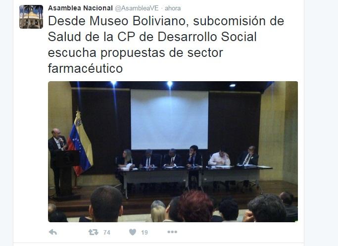 Discusión de propuestas para el sector farmacéutico. Capture del twitter de la Asamblea Nacional