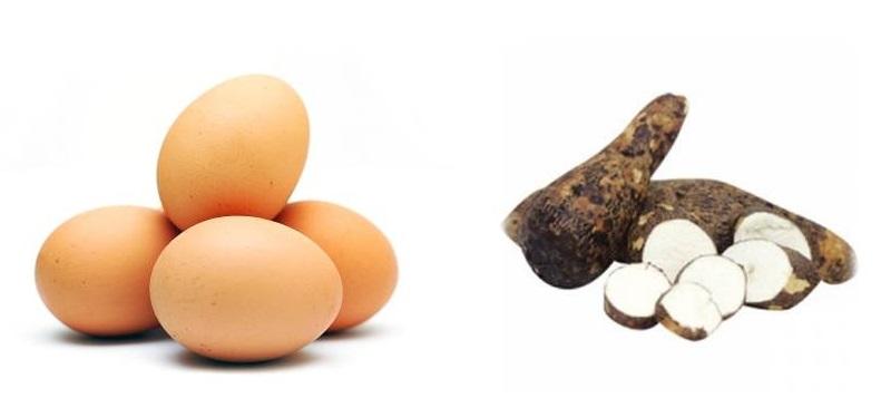 Huevos y ocumo es lo que comen los obreros