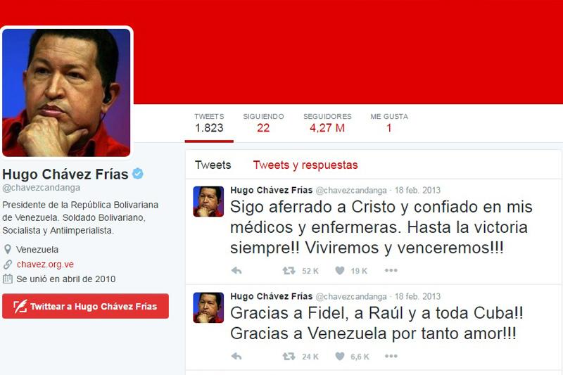 Twitter de Hugo Chavez  Imagen de Referencia