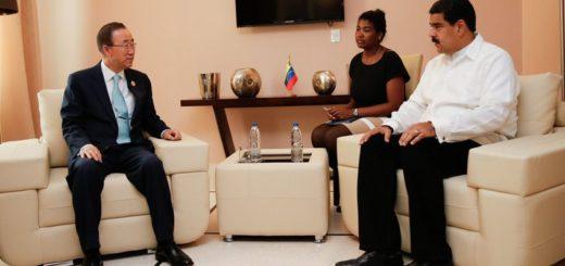 Secretario General de la ONU, Ban Ki-moon en compañía del presidente venezolano, Nicolás Maduro | Foto: EU