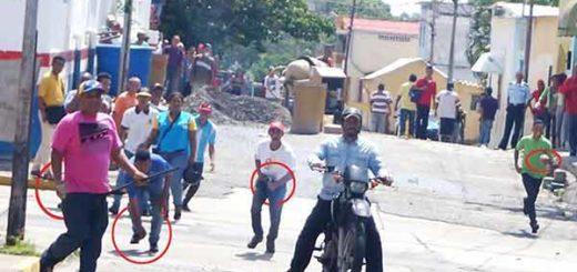 Colectivos que atacaron rueda de prensa de la MUD en Yaracuy / Foto: Twitter