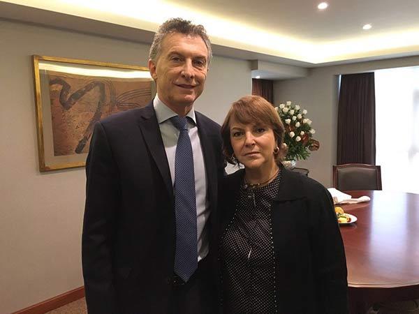 Mitzy Capriles de Ledezma se reunió este jueves con Mauricio Macri  Foto: Twitter