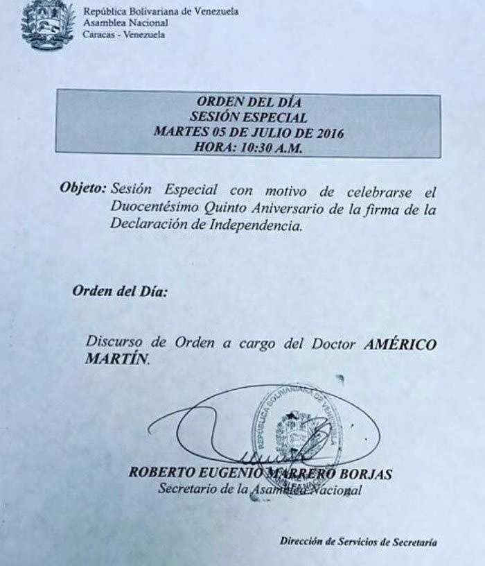 Orden de la sesión espacial en la Asamblea Nacional