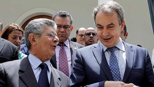 Rodríguez Zapatero junto a Ramos Allup / Foto: Archivo
