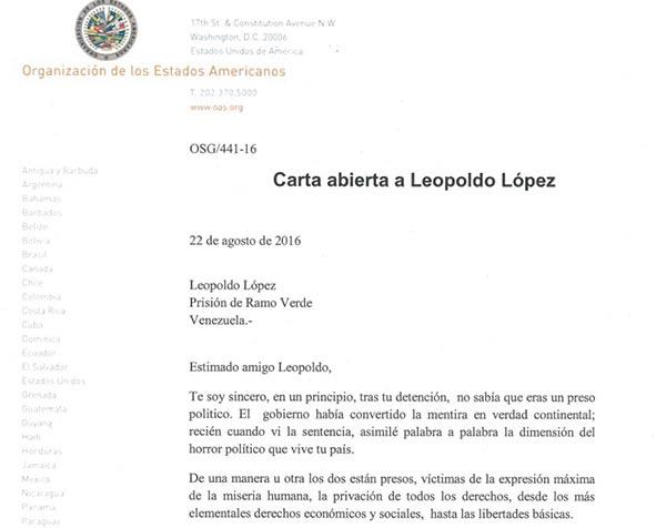 imagen: Carta dirigida a Leopoldo López por Luis Almagro