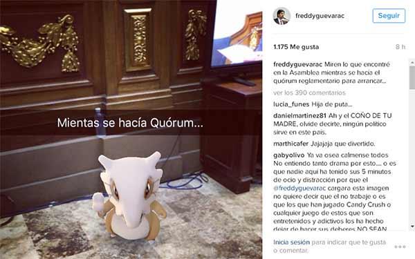 El diputado Freddy Guevara encontró este pokémon en el Hemiciclo del Parlamento | Foto: Archivo