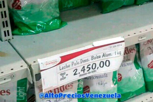 """La leche aparece con precios """"sustos""""  Foto referencia"""