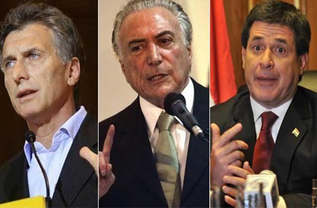 Mauricio Macri, Michel Temer y Horacio Cartes estarían considerando suspender a Venezuela de Mercosur |Foto: nodal.am