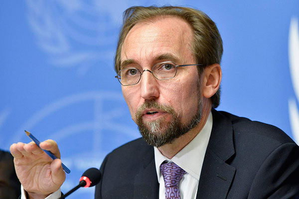 Alto comisionado de la ONU para los Derechos Humanos, Zeid Ra'ad al Hussein  Foto archivo