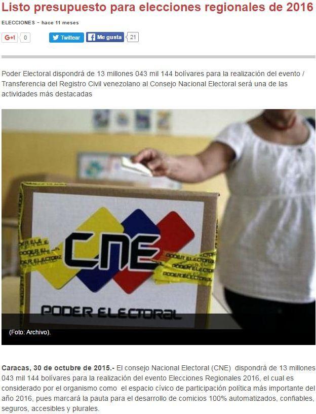 Captura de la publicación de Vtv en el 2015 donde se informa la aprobación del presupuesto para el CNE |¿Qué pasó con ese dinero?