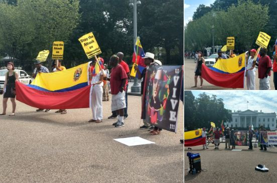Este es el grupo que protestó en la Casa Blanca a favor de Maduro  Foto: @Nelaruizc