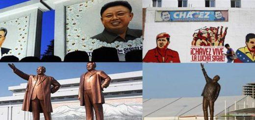 Similitudes de propagandas en Venezuela y Corea del Norte  Fotomontaje