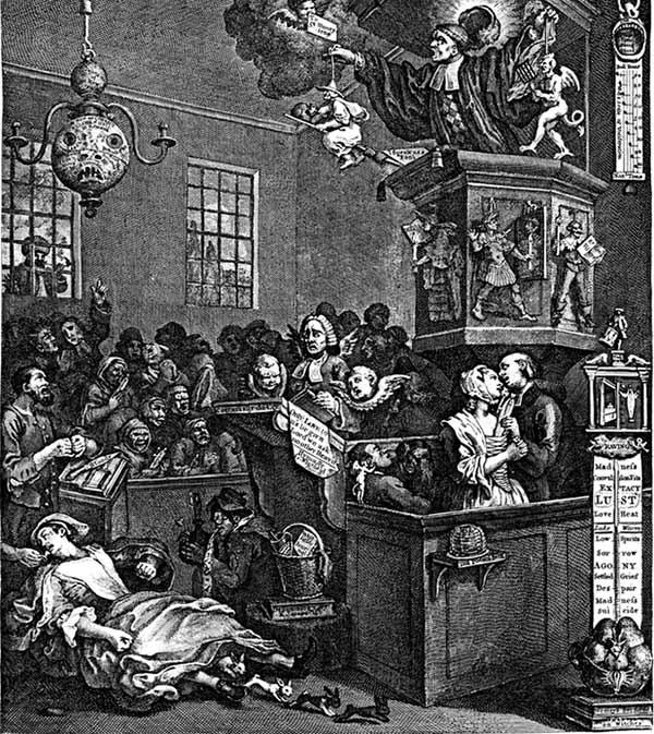 Hogarth ridiculizo la credulidad laica y religiosa de la época | Imagen: PUBLIC DOMAIN