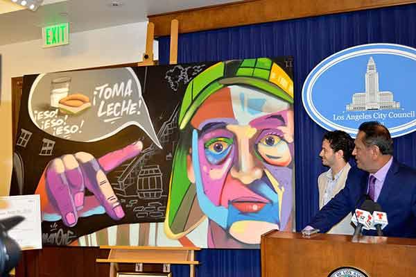 Presentación de la obra del artista Man One en honor al Chavo del Ocho | Foto: EFE