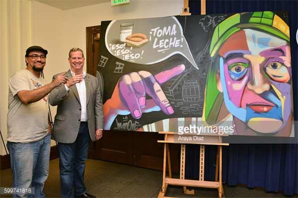 Obra del artista Man One en honor al Chavo del Ocho | Foto: Getty Images