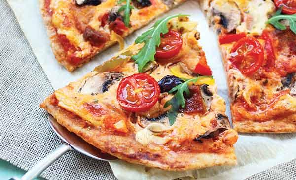 Pizza con base de coliflor  Imagen referencial