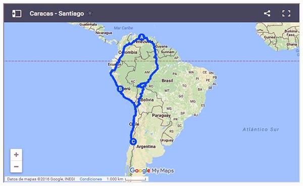 Ruta hacia Chile desde Venezuela | Imagen: Cortesía de Notilogía