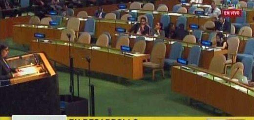 Delcy Rodríguez durante su discurso en el hemiciclo de la ONU   Captura: Maduradas
