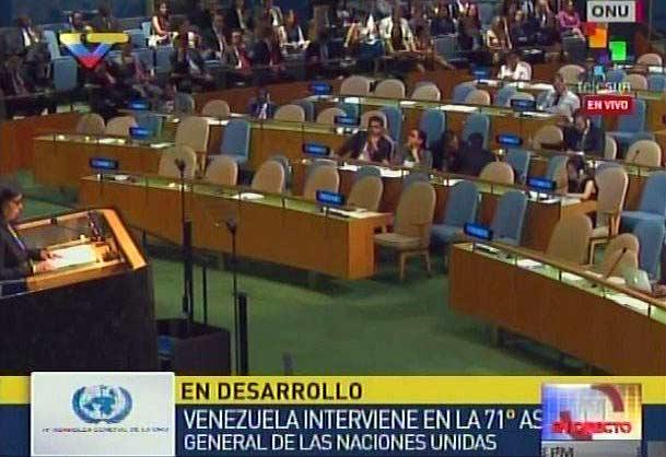 Delcy Rodríguez durante su discurso en el hemiciclo de la ONU | Captura: Maduradas