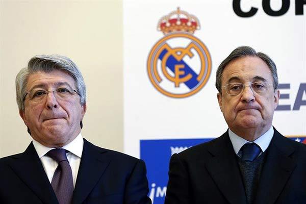 Los presidentes del Atlético de Madrid, Enrique Cerezo y del Real Madrid, Florentino Pérez | Foto:Agencias