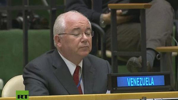Rafael Ramírez durante discurso de Delcy Rodríguez en la ONU