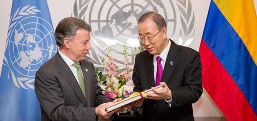 Presidente de Colombia, Juan Manuel Santos y Secretario General de la ONU, Ban Ki-moon | EFE