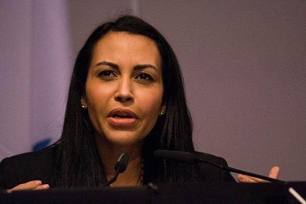Delsa Solórzano durante su intervención en la Unión Interparlamentaria  Foto: @Orbisswissphoto