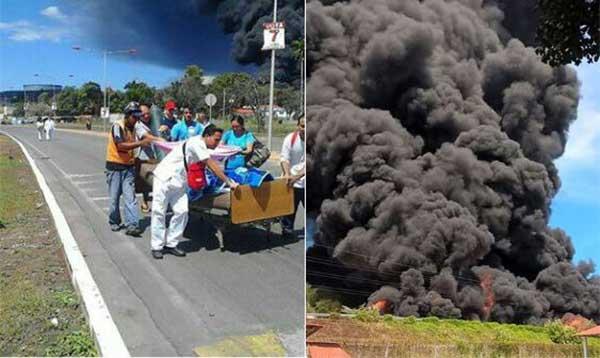 Evacúan pacientes del IVSS en Guaraguao tras explosión en refinería | Fotos: @LaGacetaCriolla