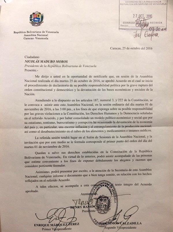 Citación a Nicolás Maduro   Foto: @hramosallup