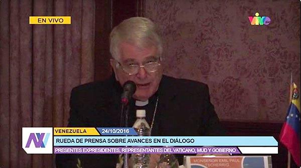 Monseñor Emil Paul adelanta que Gobierno y oposición se reunirán el 30- O | Foto: captura