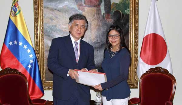 Delcy Rodríguez se reunió con embajador de Japón para reforzar relaciones | Foto: @CancilleriaVen