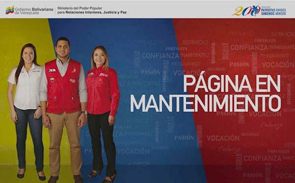 Página web del Ministerio de Relaciones Interiores, Justicia y Paz | Foto: Captura