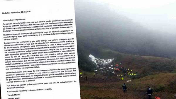 La desgarradora carta de la controladora aérea de la tragedia de Chapecoense | Foto: La Semana