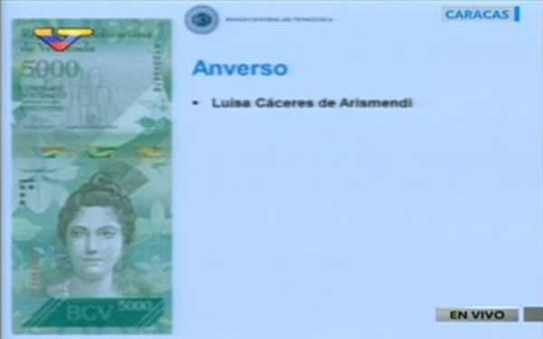 Billete de 5.000 bs | Imagen: Captura de video