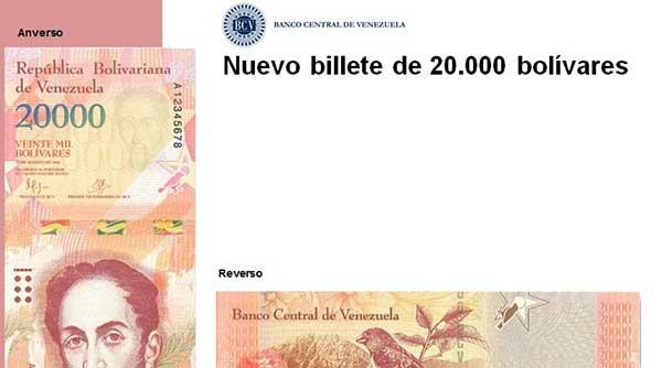Billete de 20.000 bolívares   Foto: @VTVCanal8