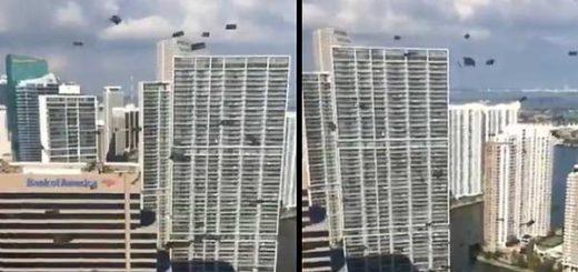 Billetes de 100 fueron lanzados desde ventanas en Miami | Imagen: Captura de video
