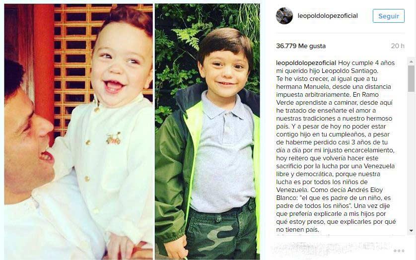 Leopoldo López envió con Lilian Tintori, su esposa, un mensaje para su hijo |Captura de pantalla