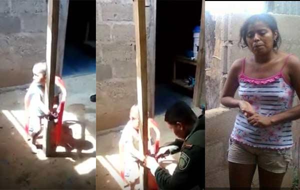 Mujer amarraba a su hijo de tres años a un poste como castigo   Captura de video
