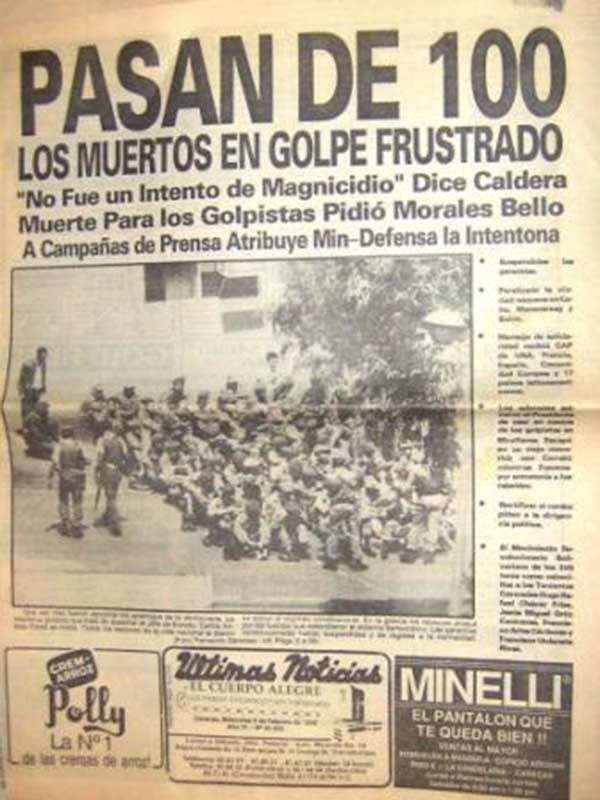 Portada de un periódico durante los hechos del 4 de febrero de 1992 / Cortesía Prensa Digital