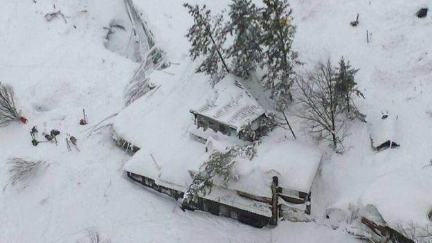 Esta imagen aérea de los bomberos de Italia muestra cómo el hotel fue sepultado por la avalancha.|Foto: AP