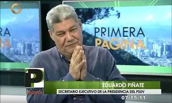 Eduardo Piñate, secretario ejecutivo del PSUV | Foto: Captura de video