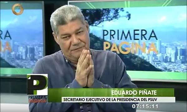 Eduardo Piñate, secretario ejecutivo del PSUV | Foto: Captura de video