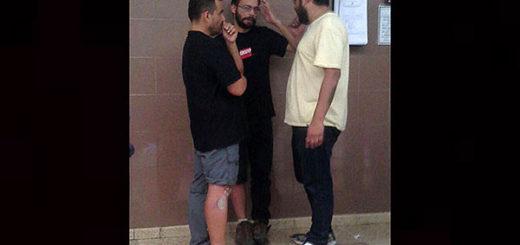 Los tres detenidos por volar dron en marcha en apoyo a Leopoldo López | Foto: Rafael Rondón