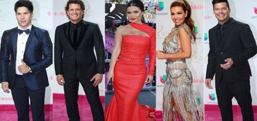 De izquierda a derecha: Jesús  Chino Miranda, Carlos Vives, Chiquinquirá Delgado, Thalia, Ricky Martin en los Premios Lo Nuestro 2017 | Composición: NotiTotal