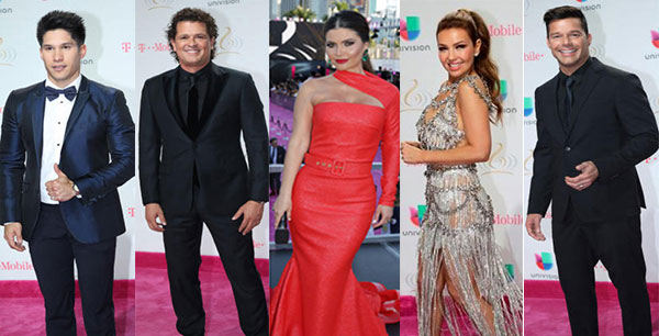 De izquierda a derecha: Jesús Chino Miranda, Carlos Vives, Chiquinquirá Delgado, Talia, Ricky Martin en los Premios Lo Nuestro 2017   Composición: NotiTotal